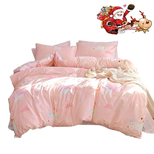 mixinni Pink Unicorn Girls Printed Bedding Duvet Cover Set Twin Cotton Modern Lightweight Striped Kids Bedding Set Zipper Closure with 4 Corner Ties for Teens
