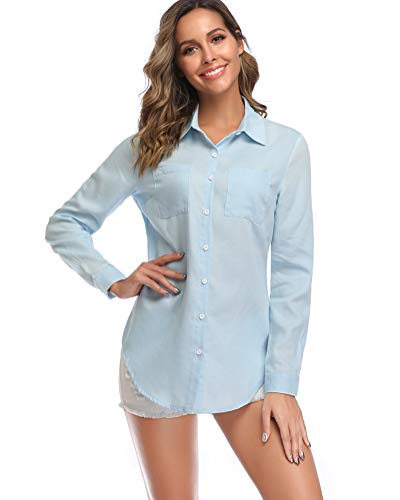 fuinloth Women's Chambray Button Down Shirt, Long Sleeve Cotton Blouse, Long Jeans Tunic Top Light Blue Large ()