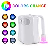 Joidy Toilet Night Light, Motion Activated Toilet Night Light, Two Modes with 8 Color Changing - Motion Sensor LED Washroom Night Light - Fits Any Toilet