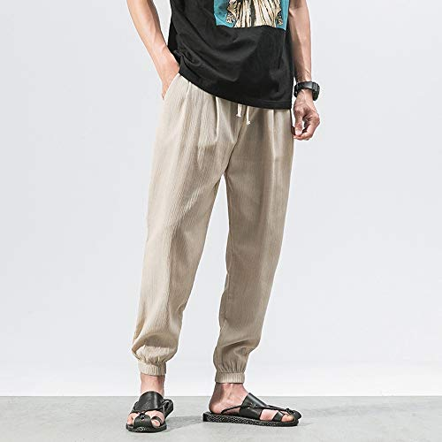 Spbamboo Mens Casual Pants Slim Sports Pants Ankle Length Linen Baggy Trousers by Spbamboo (Image #3)
