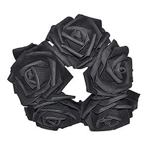 YONGSNOW 30Pcs/lot 8cm PE Foam Rose Artificial Flower Bouquets for Wedding Party Decoration (Black) 2
