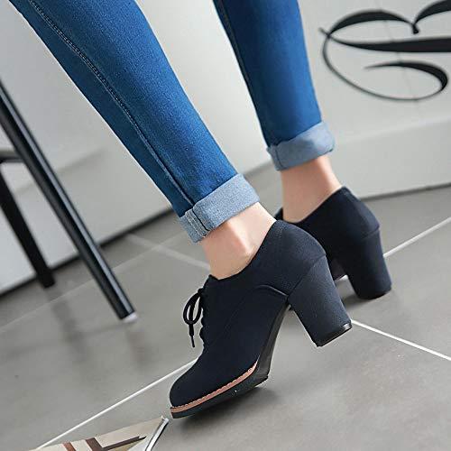 Up Donna Flat invernali Stivale Singole Shoes Scarpa Blu Lace ragazza Scarpe Corto Alto Basso Moda Tacco Scarpe Alti Casual boots Stivale Con Da Tacchi autunno Bazhahei Stivaletti 8dqxTvw8