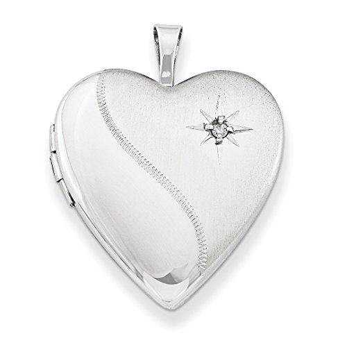 925 Sterling Silver 20mm Diamond Heart Photo Pendant Charm Locket Chain Necklace That Holds Pictures W/chain Fine Jewelry Gifts For Women For Her