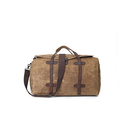 InFurniture B2032-1-Khaki Khaki, Waxed Canvas 12 Oz. with Leather Traveling Bag by InFurniture