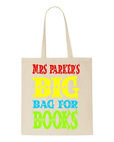 Big Bag Of Books - Personalised Teacher Appreciation Gift Sublimation Tote Bag Shopper Natural