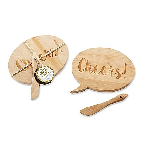 Kate Aspen Speech Bubble ''Cheers'' Bamboo Cheese Board and Spreader (Set of 12) by Kate Aspen® (Image #2)