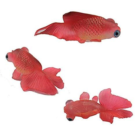 Gwant Cute Mini World Creation - Pez Dorado Artificial para Acuario, diseño de Peces pequeños con Ventosa, Color Rojo: Amazon.es: Hogar