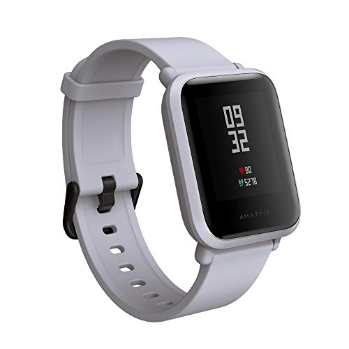 Amazfit BIP smartwatch by Huami with all-day heart rate and activity tracking, sleep monitoring, GPS, 30-day battery life, Bluetooth (White - Chargers Player Ladies