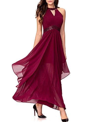 Noctflos Chiffon Elegant Maxi Cocktail Evening Dress For Women Party Wedding (Large, Burgundy)