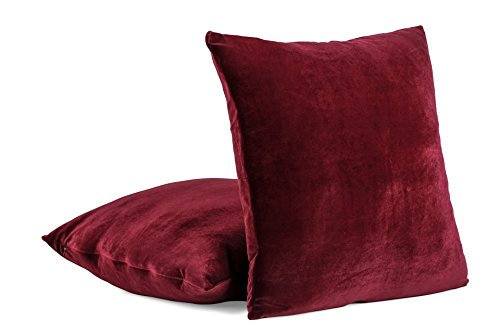 2-PC 18 x 18 Inches Soft Velvet Decorative Pillow Cover, Throw Pillow Case (Wine) (Groupings Pillow Throw)