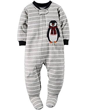 Carters Baby Boys 1-Piece Fleece PJs Penguin Stripe Grey- 4T