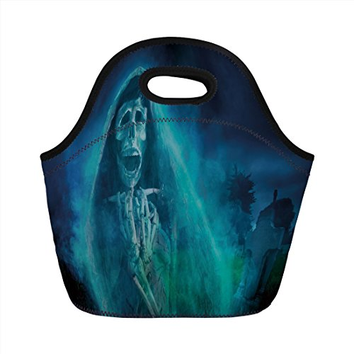 Neoprene Lunch Bag,Halloween Decorations,Gothic Dark Backdrop with a Dead Ghost Skull Mystical Haunted Horror Theme,Blue,for Kids Adult Thermal Insulated Tote Bags ()