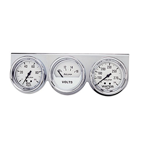 Auto Meter 2329 Autogage Mechanical White Oil/Volt/Water Gauge with Chrome Console