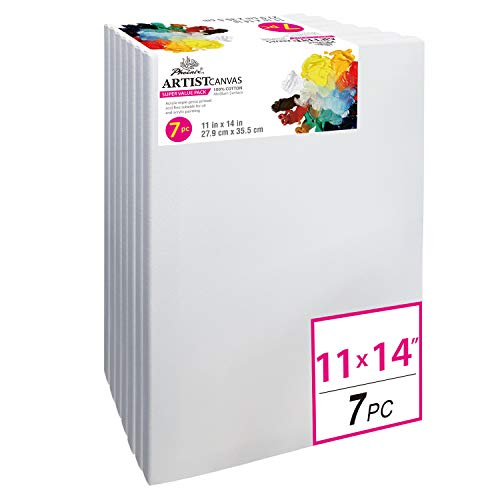 - PHOENIX Pre Stretched Canvas for Painting - 11x14 Inch / 7 Pack - 5/8 Inch Profile of Super Value Pack for Acrylics, Oils & Other Painting Media