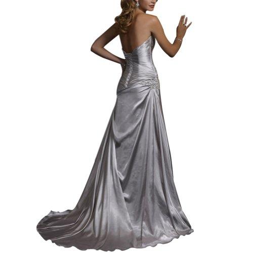 Hochzeitskleider Elfenbein Applikationen Perlen traegerlosen BRIDE Einfache Satin GEORGE Brautkleider RwqFA