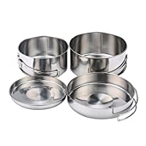 KOBWA Camping Stainless Steel Cookware Set, Picnic Hiking Camping Pots and Pans Set Cooking Mess Kit 4 Pcs - Lightweight and Durable