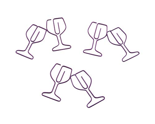 Butler in the Home 100 Count Wine Glass Shaped Paper Clips Great for Red