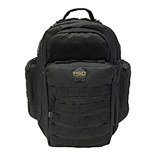 HSD Diaper Bag Backpack for Dad, Large Waterproof Travel Baby Bag for Men + Changing Pad, Insulated Pockets, Stroller Straps and Wipe Pocket. Multi-function, Military Tactical Style (Black)