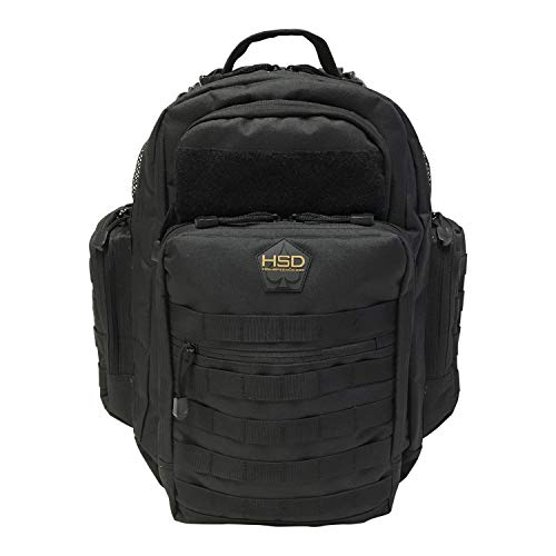 Diaper Bag Backpack, HSD Multifunction Waterproof Large Tactical Daddy Travel Backpack for Men + Changing Pad, Insulated Pockets, Stroller Straps and Wipe Pocket for The Confident Dad (Black)