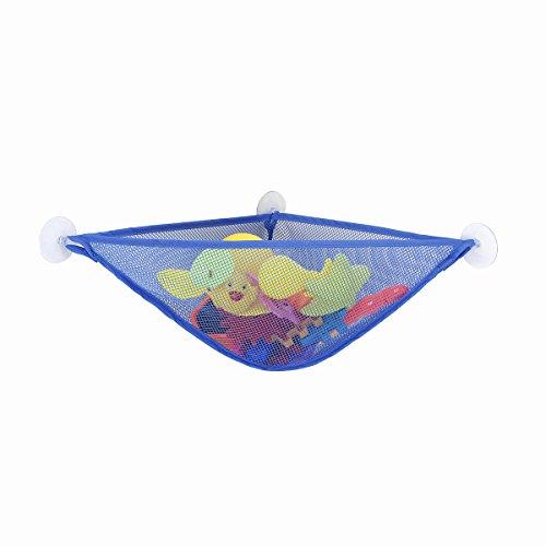 - Myfreed Bath Toy Organizer Corner Toy Holder Caddy Bag Toddler Bathtub Toys Hammock Storage Net 3 Strong Suction Cups (Blue)