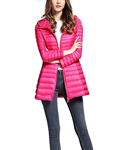 Piumino Packable Inverno Giacche Trapuntato Donna Ultraleggeri Lunga Rossa Rosa Giacca Suncaya Cappotto Bxaw6q8qt