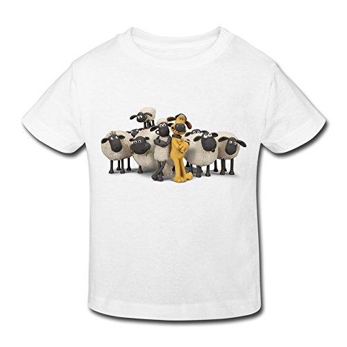 Age 2-6 Kids Toddler Shaun The Sheep Movie Logo Little Boy's Girl's Tee Shirt White Size 3 Toddler