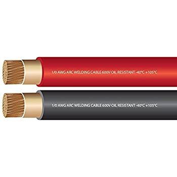 1/0 Gauge Premium Extra Flexible Welding Cable 600 Volt Combo Pack - Black+RED - 25 FEET of Each Color - EWCS Spec - Made in The USA!