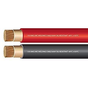 1/0 Gauge Premium Extra Flexible Welding Cable 600 VOLT COMBO PACK – BLACK+RED – 25 FEET OF EACH COLOR – EWCS Spec – Made in the USA!