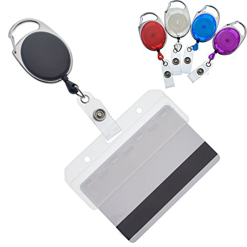 (5 Pack - Premium Carabiner Badge Reels with Half Card Badge Holders - Leaves Mag Stripe Exposed for POS and Swipe Cards by Specialist ID (5 Pack, Assorted Colors))