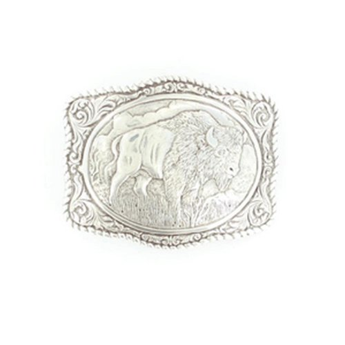 [Crumrine Men's Vintage Buffalo Belt Buckle Silver One Size] (Buffalo Buckle)