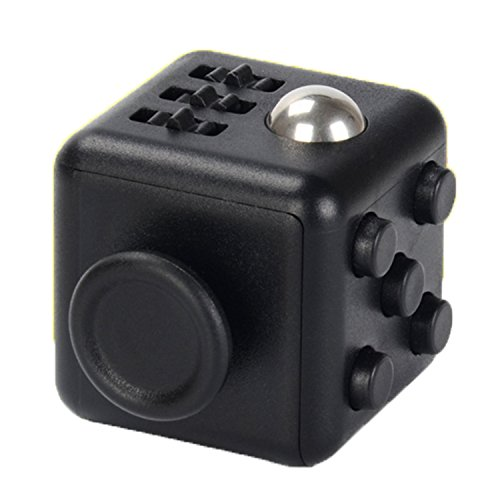 Fidget Cube Stress Relief Toys Desk Toy for Adults and Children Finger Training Relieves Stress and Anxiety (black)