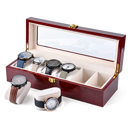 Karamanda Wooden Paint Watch Box-6 Wide Watch Slots Wooden Watch Box Storage Organizer, Red Vintage Watch Box Men