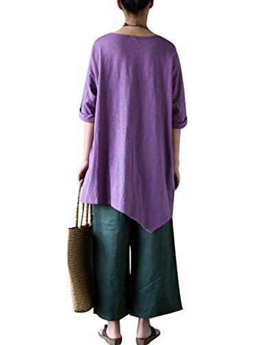 Youlee shirt Violet Femmes T Irrégulier Coton Automne Été En xXXI8r