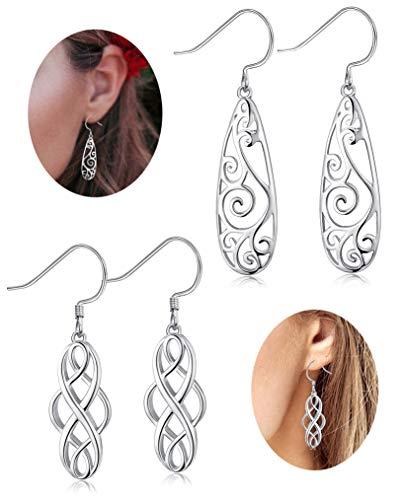 FUNRUN JEWELRY 2 Pairs 925 Sterling Silver Celtic Knot Dangle Earrings for Women Girls Filigree Teardrop Earrings Platinum Plated ()