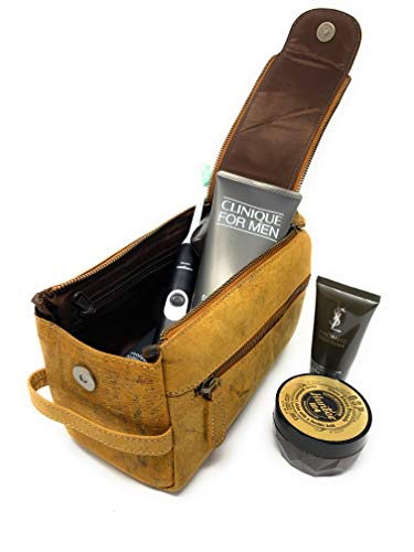 KOMALC Genuine Buffalo Leather Unisex Toiletry Bag Travel Dopp Kit (Distressed Yellow Tan)
