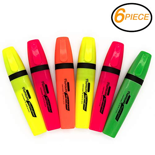 Emraw Assorted Colors Smooth Glide Solid Gel Fluorescent Highlighter with Pocket Clip Student Study Kit - For School, Office & Home (Pack of 6)