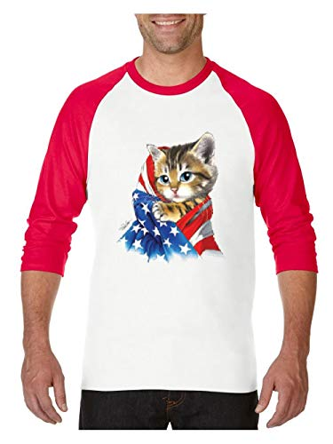 Mom`s Favorite 4th of July Flags Cute Kitty with American Flag Unisex Raglan Sleeve Baseball T-Shirt (MWR) White -