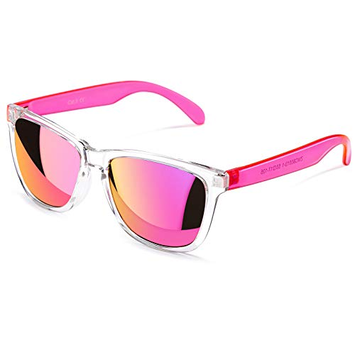 COLOSSEIN Vacation Fashion Sunglasses for Women, Mirrored Lens 100% UVA/UVB Protection FDA Standard, Pink, 55mm