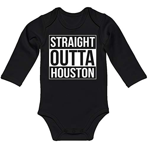 Indica Plateau Baby Romper Straight Outta Houston Black for 18 Months Long-Sleeve Infant Bodysuit]()