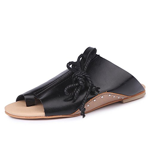 DEESEE(TM) New Arrivals Women Girls Flat-bottomed Roman Sandals Open Ankle Flat Straps Platform Wedges Shoes Black