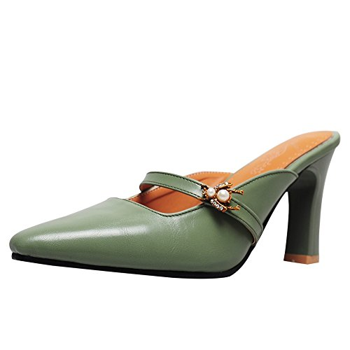 (Charm Foot Women's Vintage Mini Square Toe High Heel Mules Shoes (7.5, Green))