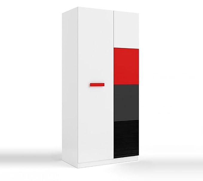 x 52 cm Medidas: 200 cm x 90 cm Color Blanco Alpes y Azul Alto Ancho Fondo Armario Juvenil 2 Puertas Habitdesign 0A7437Y