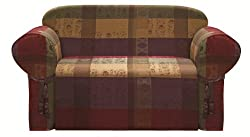 Chezmoi Collection Gitano Burgundy Purple Green Gold Heavy-duty Jacquard Loveseat Cover Slipcover