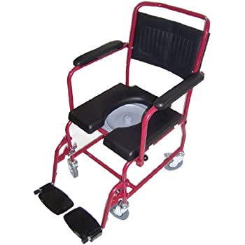 MedMobile® 2-in-1 Commode / Shower Wheelchair with Drop-down Armrests, Locking Rear Castors, Detachable Footrests and PU Commode Seat