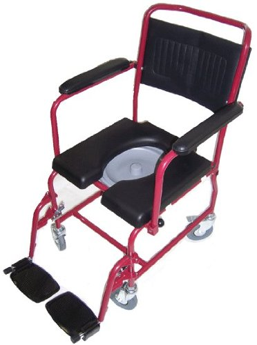 MedMobile® 2-in-1 Commode / Shower Wheelchair with Drop-down Armrests, Locking Rear Castors, Detachable Footrests and PU Commode Seat by MedMobile