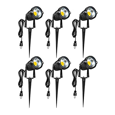 Romwish 5W COB LED Landscape Spotlights AC120V, Outdoor Waterproof Decorative Spike Pathway Lights with US Plug, 3000K Warm White, Metal Ground Stake, 59inch Cord with US Plug(6 Pack)