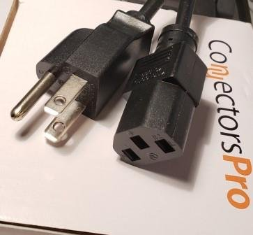 PC Accessories- Connectors Pro 5-PK 2' Universal Power Cable Cord - 2 Feet IEC320 C13 to NEMA 5-15P, 5-PACK CSA UL RoHS by PC Accessories (Image #1)