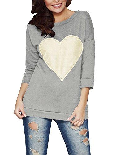 Shele Women's Love Heart Crew Neck Sweatshirt Loose Jumper Pullover Tunic Tops ()