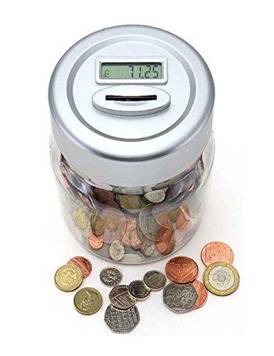PinkSocks UK Pound Coin Counting Money Jar Piggy Bank Saving Safe Box with Digital Display
