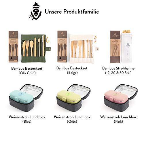 L/öffel Gabel EifelYeti Bambus Reisebesteckset in funktionaler Tasche mit Karabiner Strohhalm /& Zahnb/ürste wiederverwendbar beige Messer